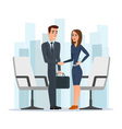 Businesswoman and businessman shaking hands man vector image vector image