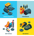 car parts collection engine automobile wheels vector image vector image