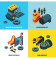 car parts collection engine automobile wheels vector image vector image