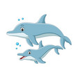 cartoon mother dolphin swims with baby vector image vector image