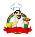 chef logo mascot cartoon vector image vector image