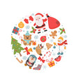 christmas holiday symbols in circle shape vector image