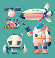 clipart with objects for space exploration vector image vector image