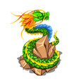 colorful dragon wrapped around a pile of stones vector image