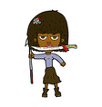comic cartoon woman with knife and harpoon vector image vector image