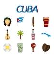 Cuba flat icon set vector image