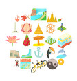 different culture icons set cartoon style vector image vector image