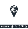globe pin icon flat vector image vector image