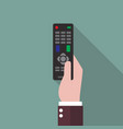 hand holding remote control vector image vector image