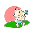 Happy adorable infant playing with a flower vector image vector image