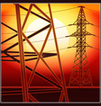 high-voltage lines at sunset vector image vector image