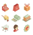 isometric shopping icons vector image vector image