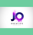 jo j o purple letter logo design with liquid vector image vector image