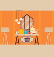 kitchen interior flat style cooking setup food vector image vector image