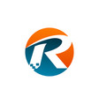 letter r logo technology logo design concept vector image vector image