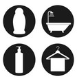 line bathroom icon set in circle button vector image
