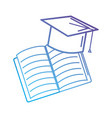 line cap graduation and notebook object vector image vector image