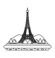 line eiffel tower with mountainsand trees vector image vector image