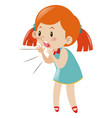 little girl in blue dress shouting vector image vector image