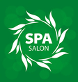 logo for a spa on a green background vector image vector image