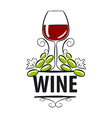 logo glasses of wine and grapes vector image