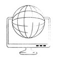 monitor computer with planet vector image vector image
