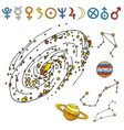 mystic magic esoteric symbols sketch hand vector image