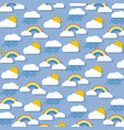 pastel background clouds with rainbow sun and vector image