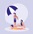 people in the beach with swimsuit vector image