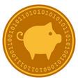 piggy digital coin vector image vector image