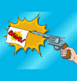 pistol with white flag comic book pop art vector image