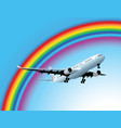plane and rainbow vector image vector image