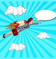 pop art successful business woman flying on rocket vector image vector image