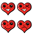 set emotional hearts vector image vector image