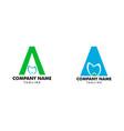 set initial letter a dental logo design vector image vector image