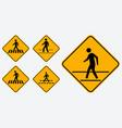 set pedestrian walk sign easy to modify vector image vector image