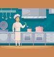 ship cook cartoon character banner vector image vector image