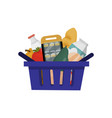 shopping basket full of food vector image