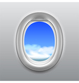 Sky in aircraft window background vector image