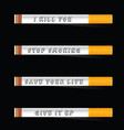 stop smoking and save life icon on black vector image vector image