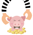 Thieves Hand Stealing Money Coin From Piggy Bank vector image vector image