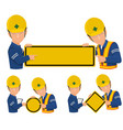 two engineers hold blank warning sign vector image vector image