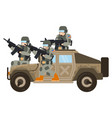 two young american soldiers accompany military suv vector image