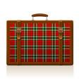 vintage brown threadbare suitcase with tartan vector image vector image