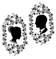 wedding silhouette with flourishes frame 5 vector image