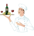 Young head-cook with a tray with red wine grape vector image