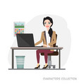 businesswoman is using a computer smiling while vector image