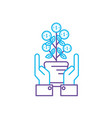 line money plant with leaves coins and hands up vector image