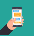 hand holding to a smartphone concept of design vector image