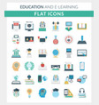 education and e-learning round flat icons vector image